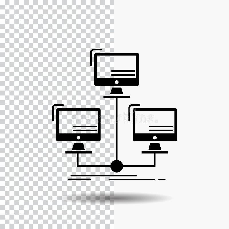 base de datos, distribuida, conexión, red, icono del Glyph del ordenador en fondo transparente Icono negro ilustración del vector