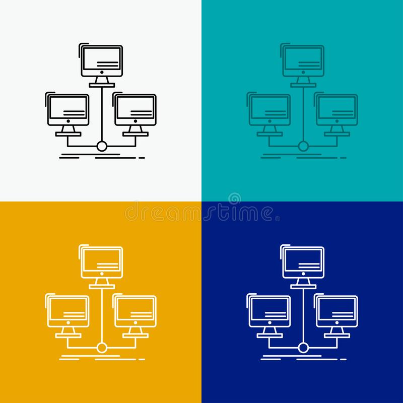 base de datos, distribuida, conexión, red, icono del ordenador sobre diverso fondo L?nea dise?o del estilo, dise?ado para la web  stock de ilustración