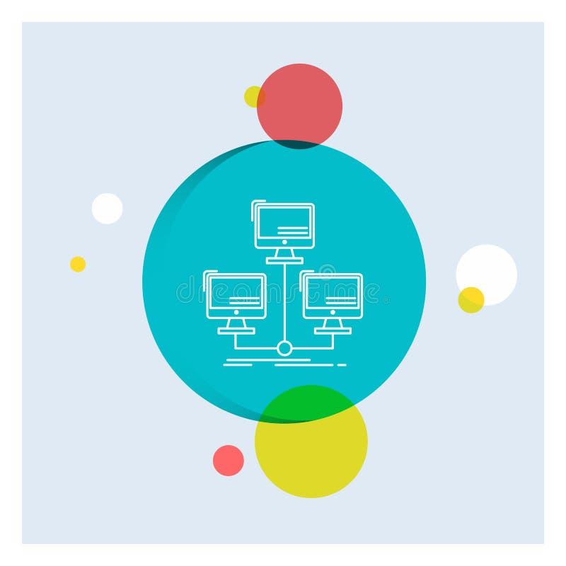 base de datos, distribuida, conexión, red, línea blanca fondo colorido del ordenador del círculo del icono ilustración del vector