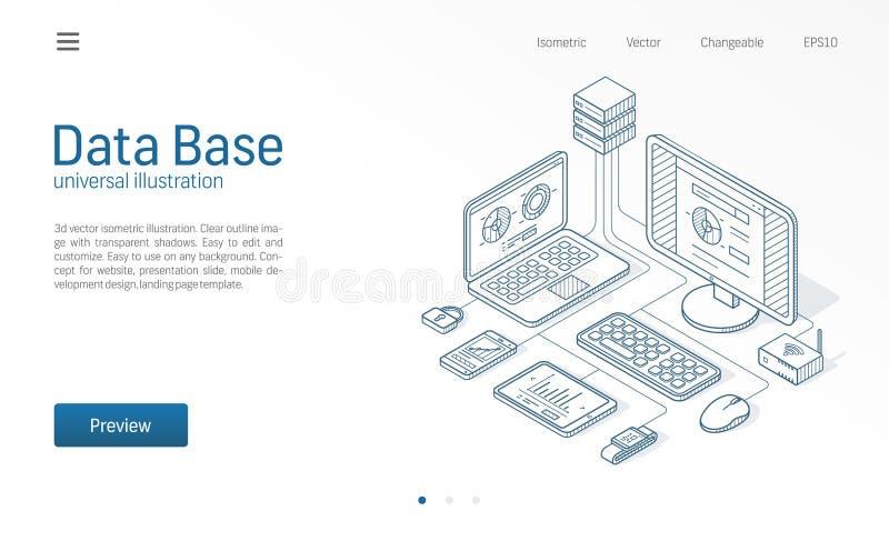 Base de datos, datos grandes, línea isométrica moderna ejemplo del servidor de anfitrión Datacenter, bosquejo del negocio del cen stock de ilustración