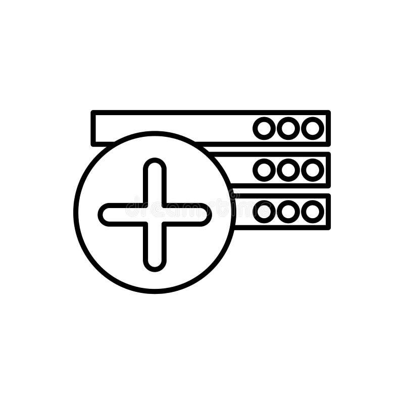 Base de datos, icono del servidor - vector Icono del vector de la base de datos stock de ilustración