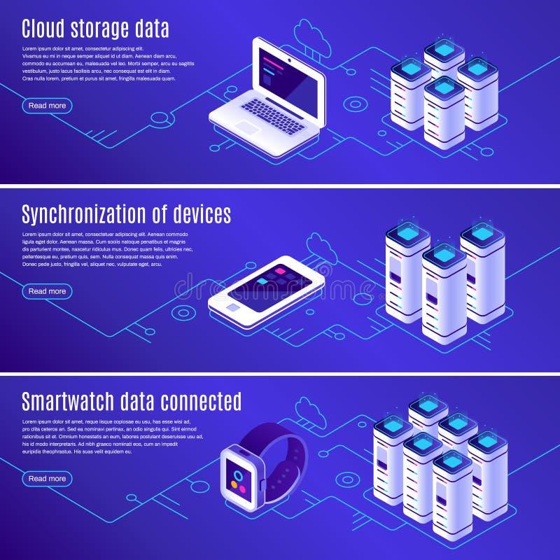 Base de datos isométrica El ordenador, el ordenador portátil y el smartphone conectaron con el almacenamiento de datos en línea d ilustración del vector