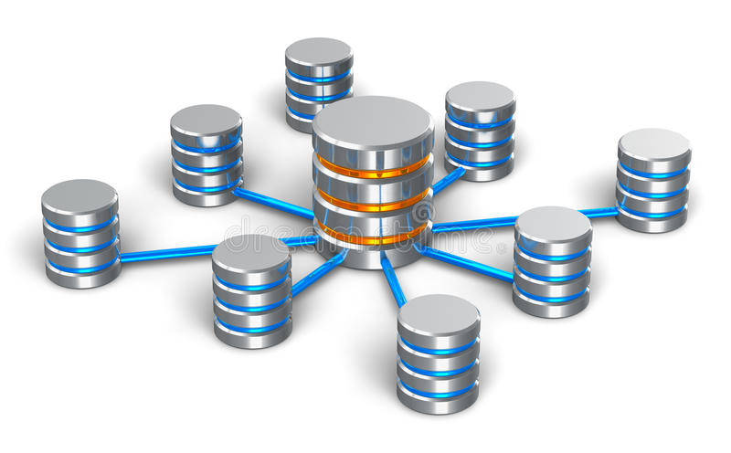 Base de datos y concepto del establecimiento de una red stock de ilustración