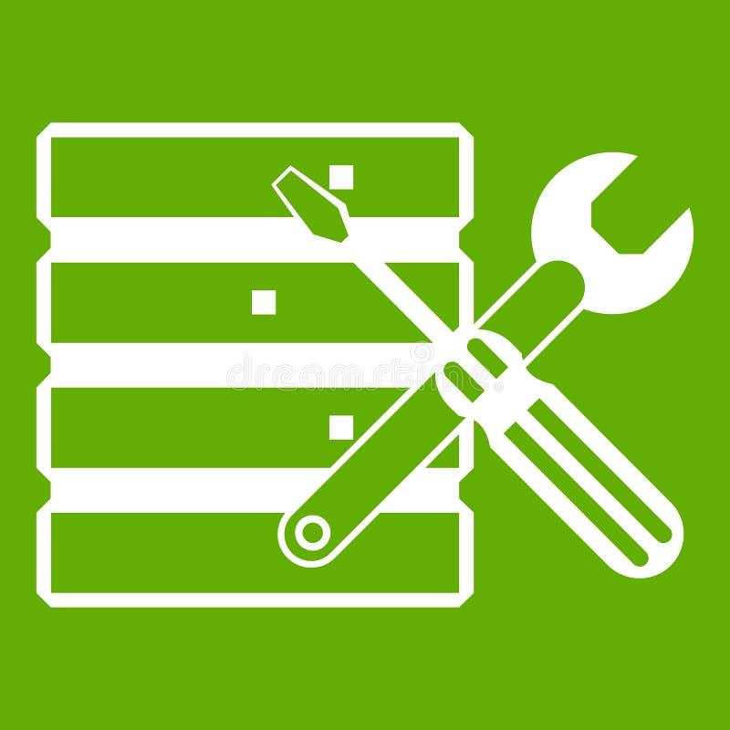 Base de données avec le vert d'icône de screwdriverl et de clé illustration libre de droits