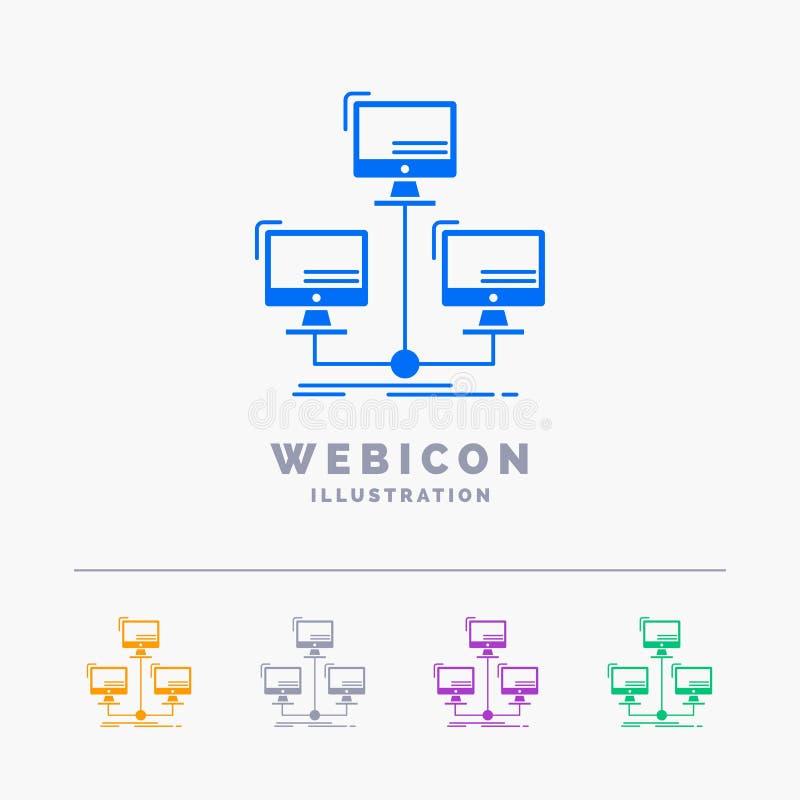 base de données, distribuée, connexion, réseau, calibre d'icône de Web de Glyph de couleur de l'ordinateur 5 d'isolement sur le b illustration libre de droits