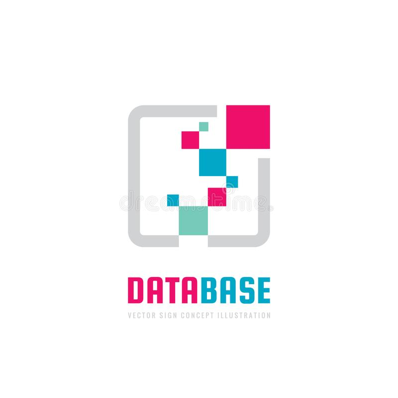 Base de données - illustration de concept de calibre de logo d'affaires de vecteur Signe créatif de technologie numérique Blockch illustration stock