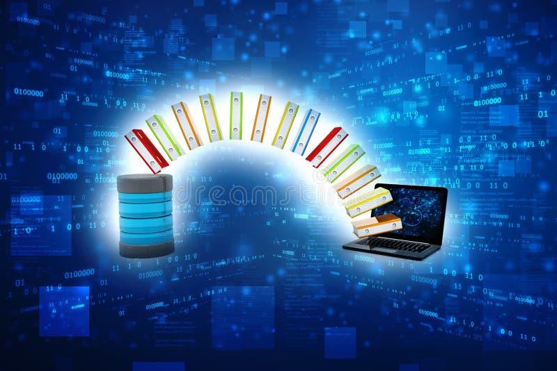Base de données ou concept d'archives Stockage de données, partage des informations 3d rendent illustration libre de droits