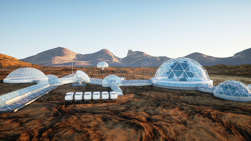 Base de Mars, colonie Expédition sur la planète étrangère Silhouette d'homme se recroquevillant d'affaires Capsyles de Geo la dur illustration de vecteur