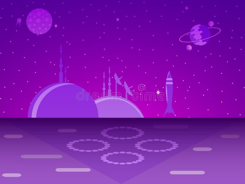 Base del espacio en el planeta colonización futurism Vector stock de ilustración