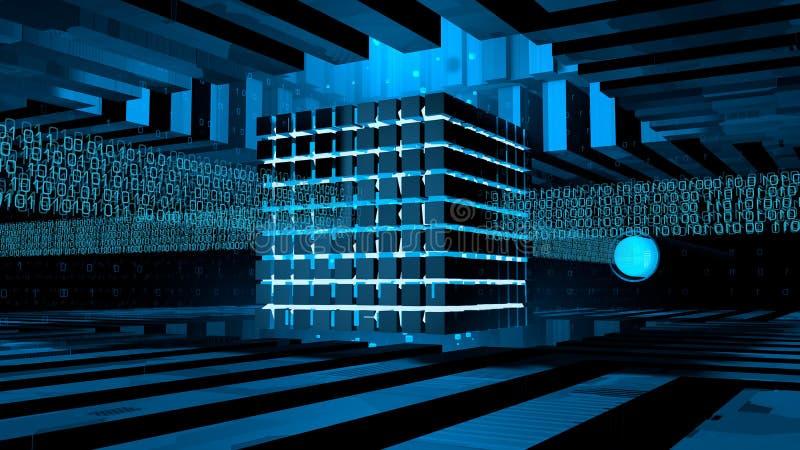 Base del ordenador formada por los cubos iluminados con la luz azul dentro de una estructura del metal que recibe líneas binarias libre illustration