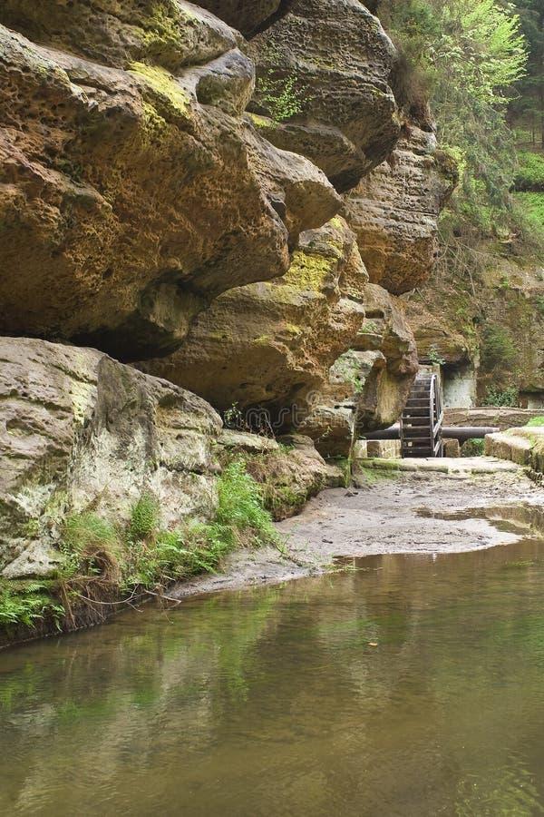 Base della montagna con il piccolo corso d'acqua immagini stock libere da diritti