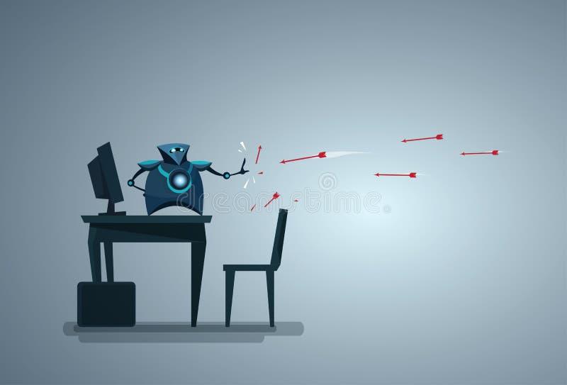 Base di dati di computer proteggente del robot moderno da tecnologia di sicurezza di dati di intelligenza artificiale di attacco illustrazione di stock