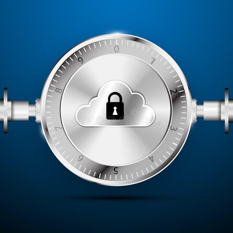 Base di dati nel fondo di concetto di sicurezza illustrazione di stock