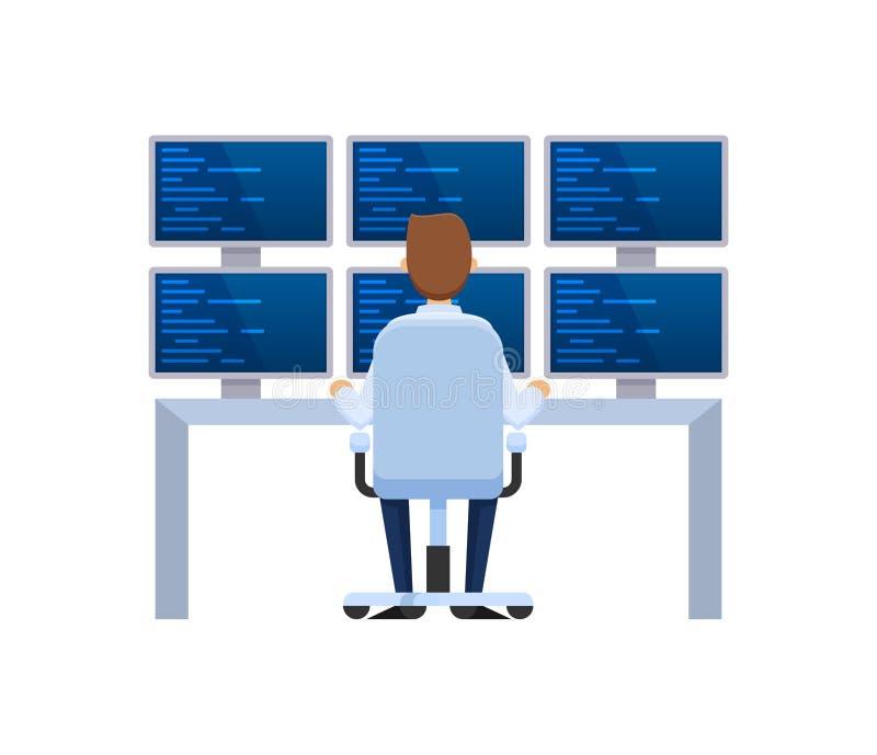 Base di informazioni, installazione del server, impiegato che lavorano per i computer e monitor illustrazione di stock