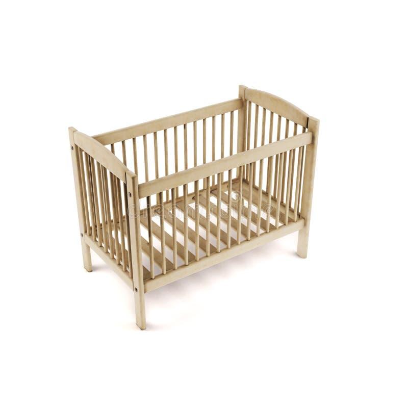 Base di legno isolata su priorità bassa bianca rappresentazione 3d royalty illustrazione gratis