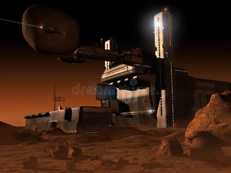 Base do espaço no planeta Marte ilustração do vetor