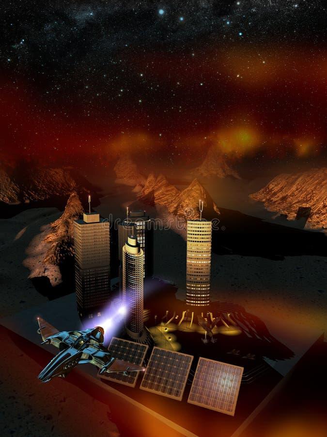 Base do espaço no planeta Marte ilustração stock