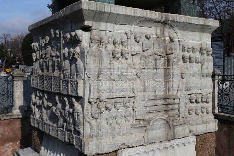 Base do Obelisco de Theodosius em Istambul, Turquia foto de stock royalty free