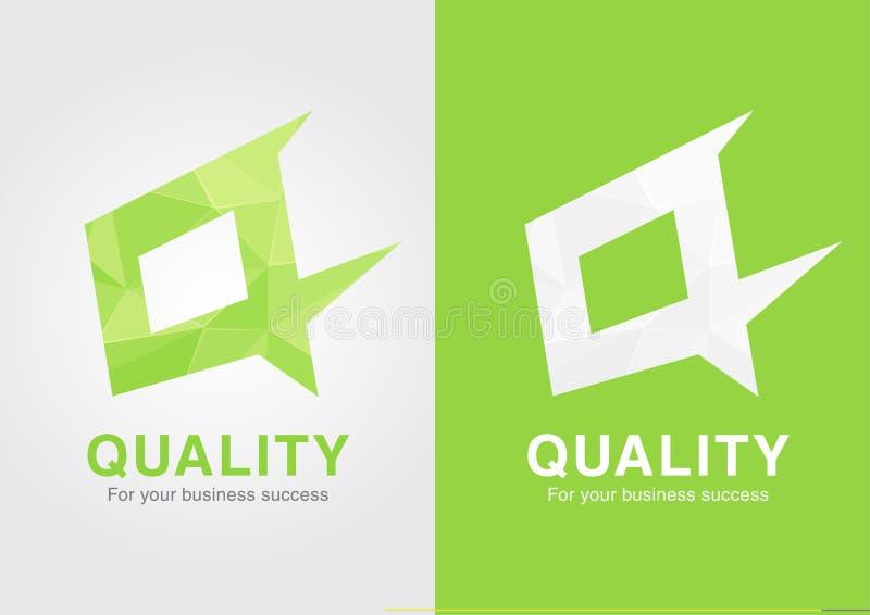 Base do símbolo do ícone da qualidade de Q na letra de Q ilustração stock
