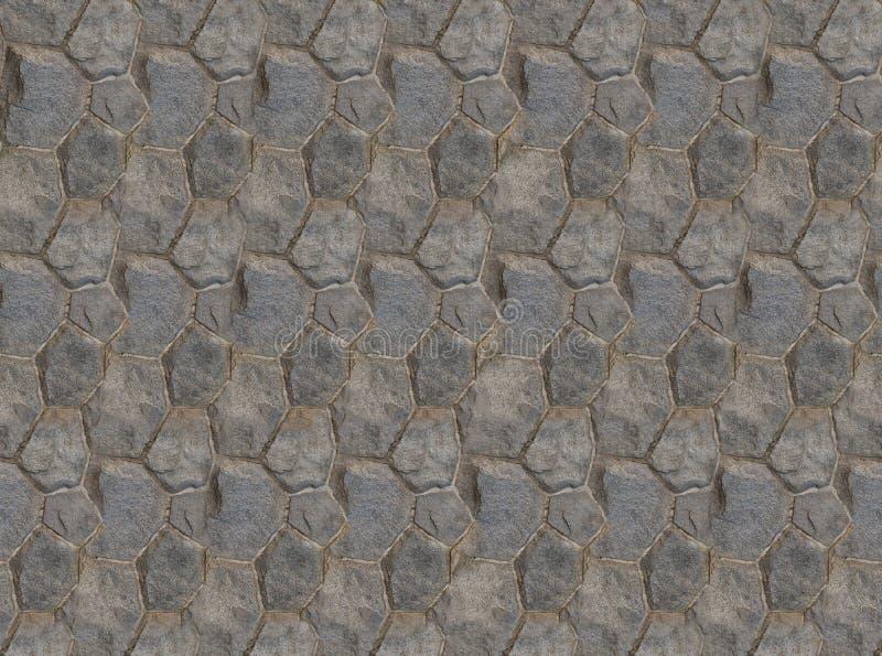 A base dobrou a textura simétrica do quadrado sextavado do fragmento da parede das telhas das pedras imagens de stock royalty free