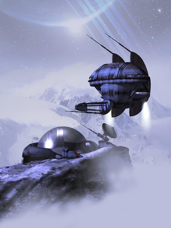 Base estrangeira do espaço ilustração stock