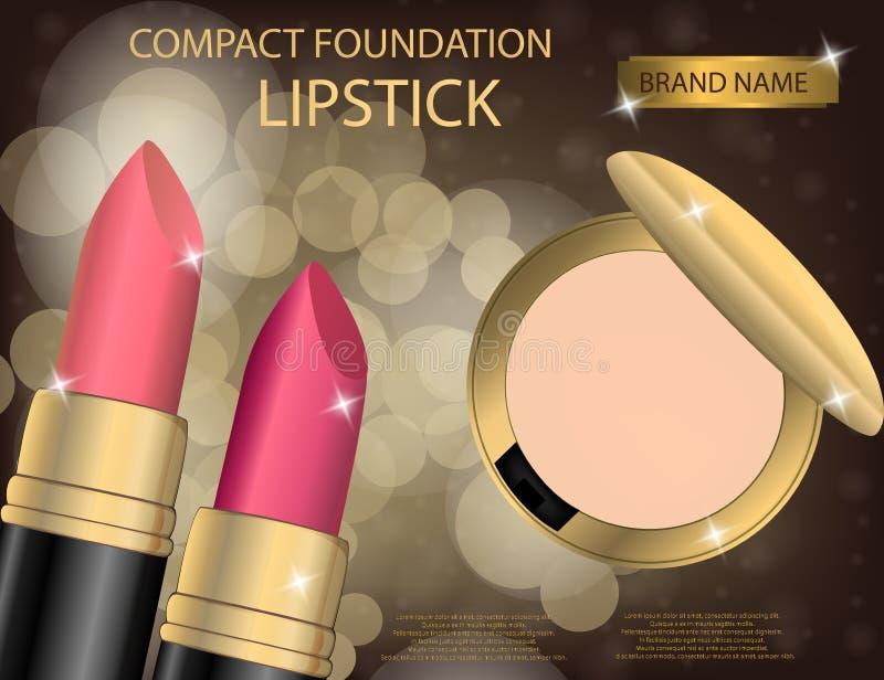 Base et rouge à lèvres compacts fascinants sur l'effe de scintillement illustration libre de droits