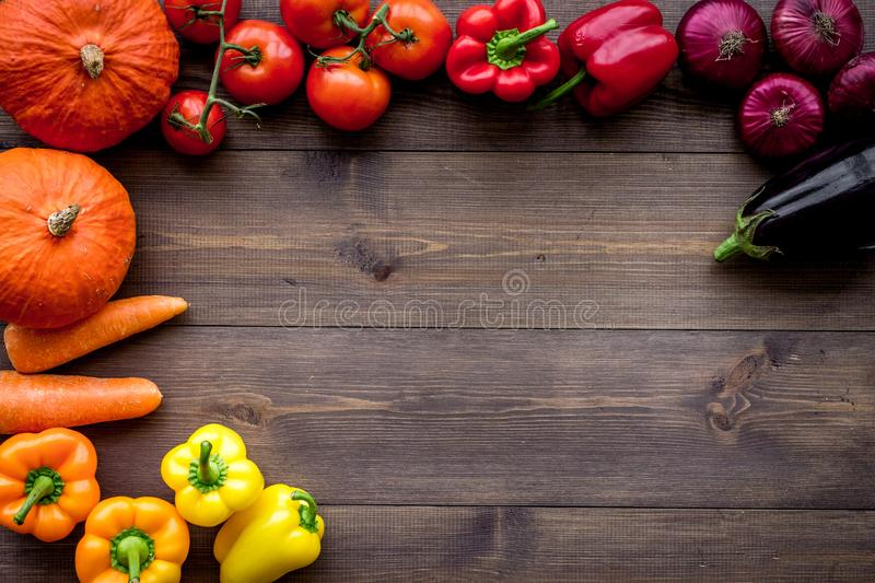 Base of healthy diet. Vegetables pumpkin, paprika, tomatoes, carrot, zucchini, eggplant on dark wooden background top royalty free stock images