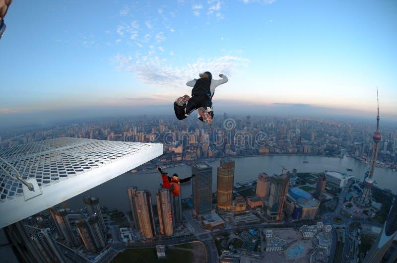 BASE jump Shanghai at sunrise royalty free stock photography