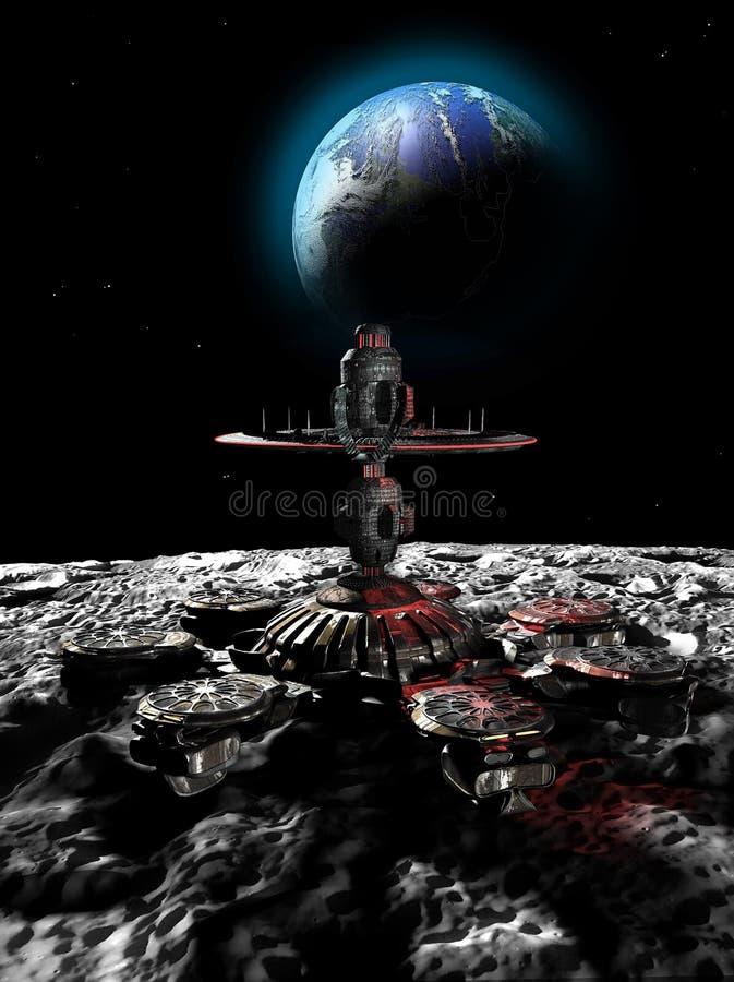 Base lunar stock de ilustración