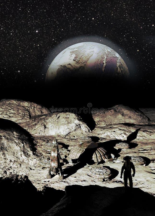 Base lunar e Earthrise ilustração do vetor