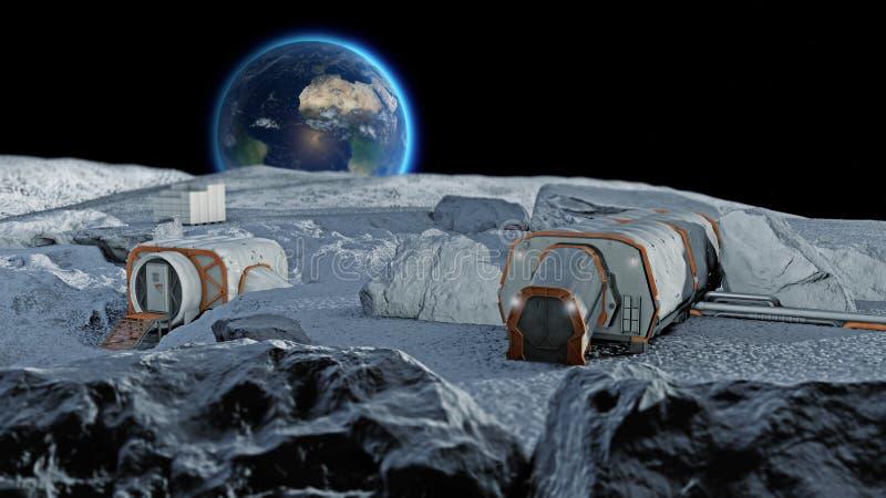 Base lunar, primeiro pagamento do posto avançado espacial na lua Missões espaciais Módulos de vida para a conquista do espaço ilustração stock