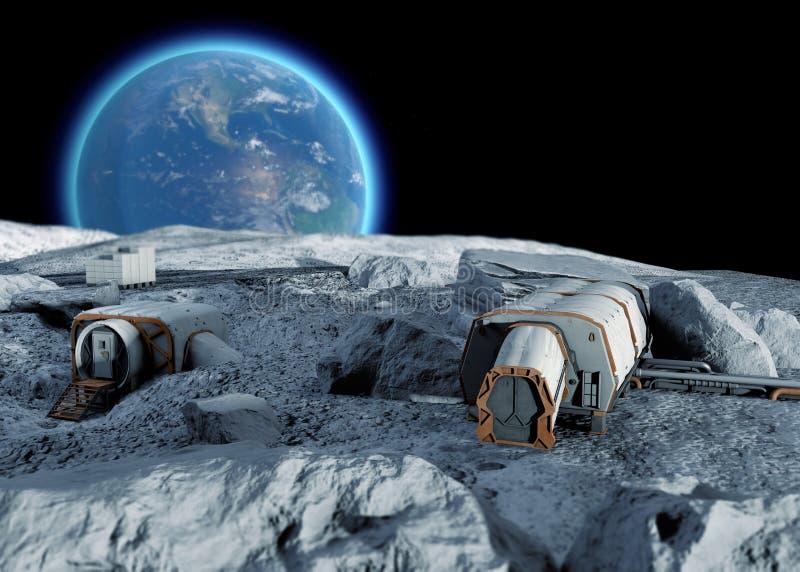 Base lunar, primeiro pagamento do posto avançado espacial na lua Missões espaciais Módulos de vida para a conquista do espaço ilustração royalty free