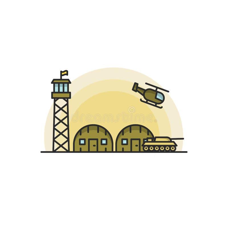 Base militar con los vehículos del ejército y de la fuerza aérea Ilustración del vector en el fondo blanco libre illustration