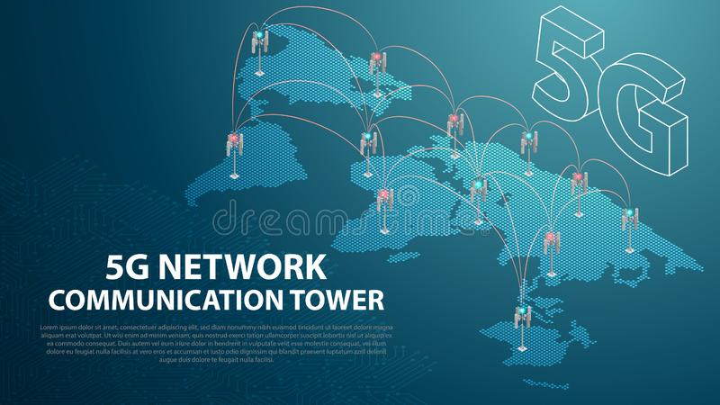 Base Mobile 5G network technology communication antenna tower background. Base Mobile 5G network technology communication antenna tower for wireless hi-speed stock illustration