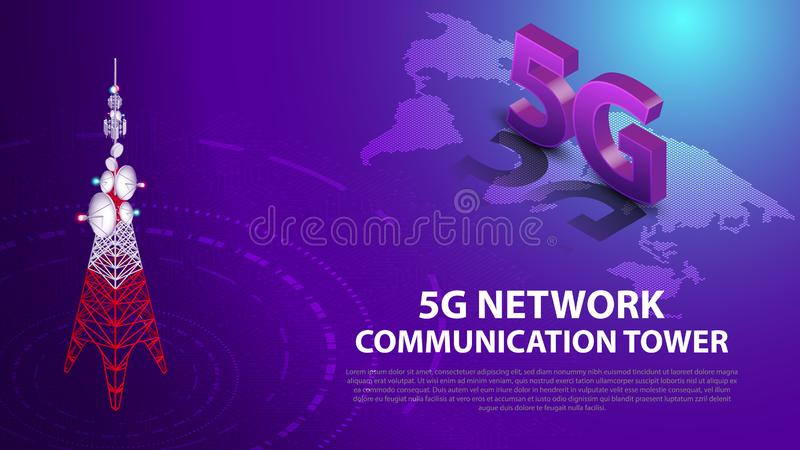 Base Mobile 5G network technology communication antenna tower background. Base Mobile 5G network technology communication antenna tower for wireless hi-speed royalty free illustration