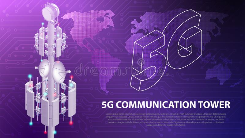 Base Mobile network technology 5G communication antenna tower background. Base Mobile network technology 5G communication antenna tower for wireless hi-speed royalty free illustration