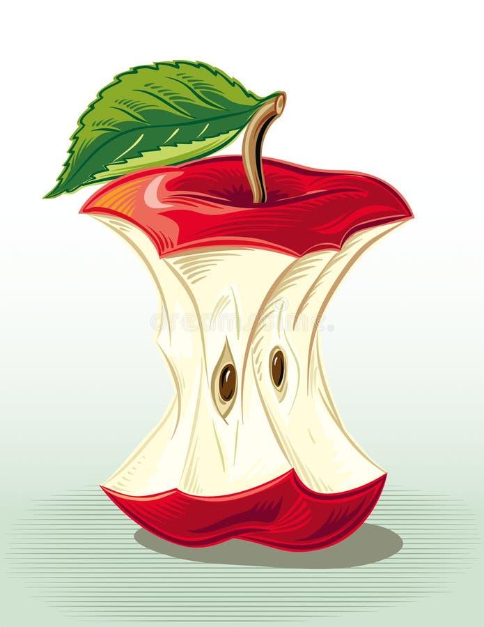 Base mordida de la manzana ilustración del vector