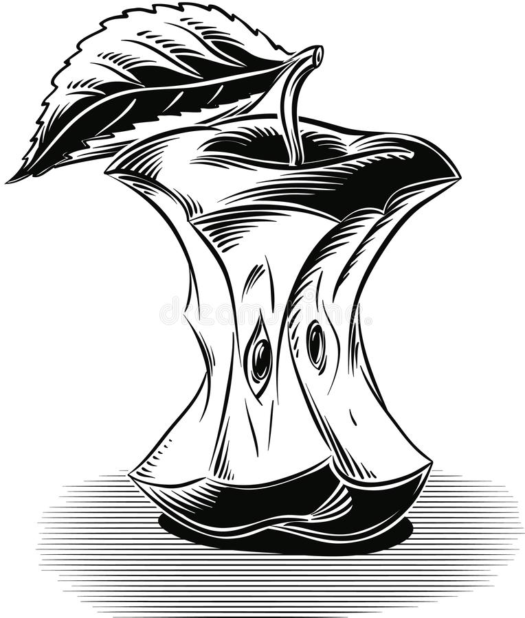 Base mordida de la manzana, descansando sobre blanco stock de ilustración
