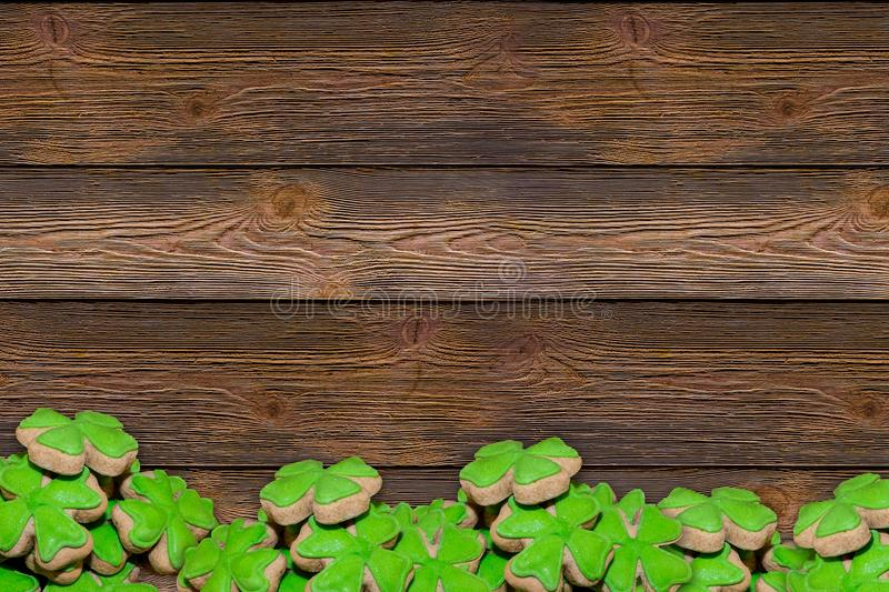 Base panels wooden dark brown boards horizontal background border band set gingerbread mastic green clover symbol holiday day sain. T Patrick invitation poster royalty free stock image