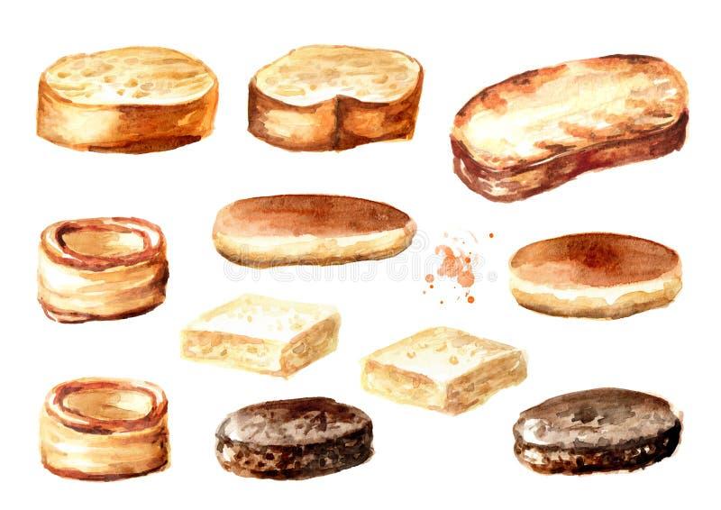 Base para los canapés y los bocadillos Sistema del Baguette, del pan y de los pasteles Ejemplo exhausto de la mano de la acuarela fotografía de archivo