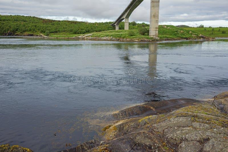 At the base of the Saltstraumen bridge royalty free stock image