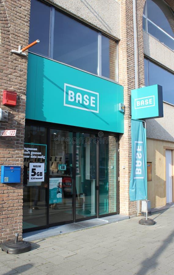 Base Shop, Dendermonde, Belgium. DENDERMONDE, BELGIUM, 31 OCTOBER 2019: Exterior view of a `Base` Shop in Dendermonde. Base is the third largest of Belgium`s stock photo