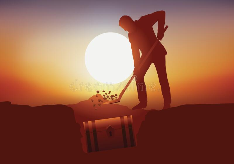 Concept of the treasure with a man who buries a safe in his garden. royalty free stock image