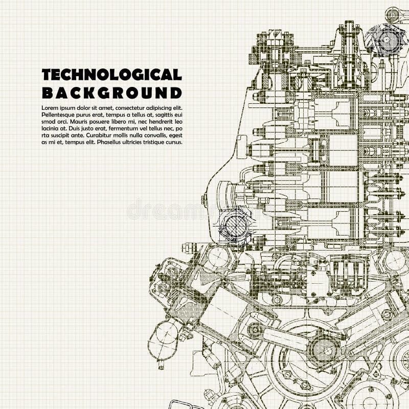 Base tecnica, motore di disegno e spazio per il vostro testo illustrazione vettoriale