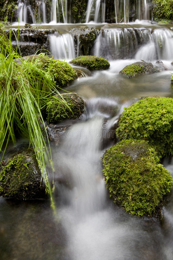 Base of Waterfall, River. Detail Time lapse of Waterfall royalty free stock photo