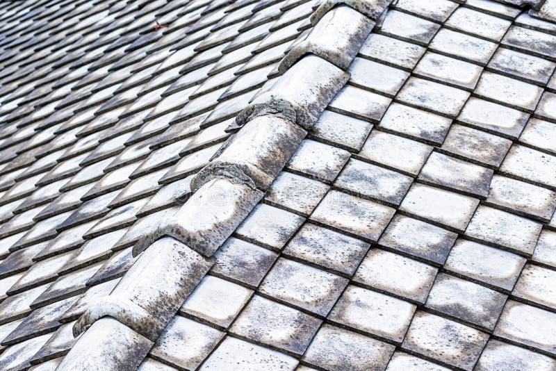Base windblown de superfície do fundo da superfície da corrosão da inclinação velha do telhado de telha geométrica foto de stock
