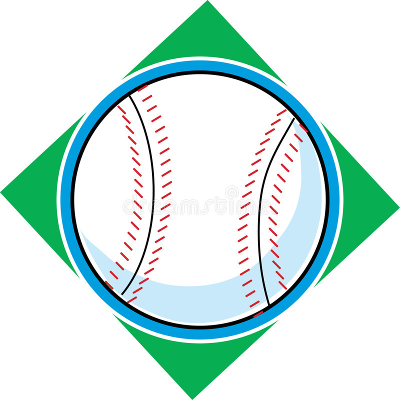 Baseball. Single baseball on a green diamond background royalty free illustration
