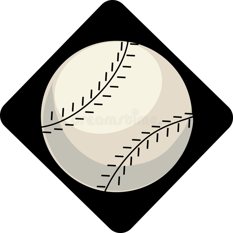 Baseball. Single baseball on a black diamond background royalty free illustration