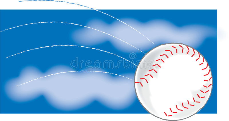 Baseball. A Single baseball flying through the air royalty free illustration