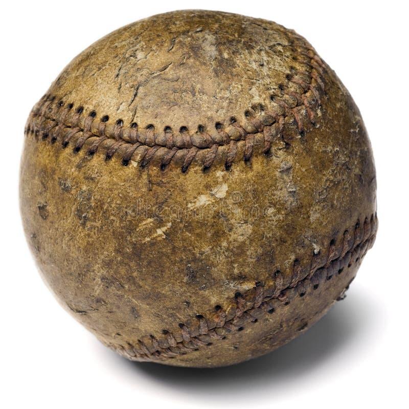 Baseball. Worn-out baseball on white stock photo